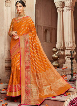 Lovely Orange Silk Zari Weaving Wedding Designer Saree