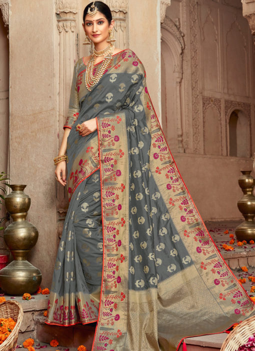 Jazzy Grey Silk Zari Weaving Wedding Designer Saree