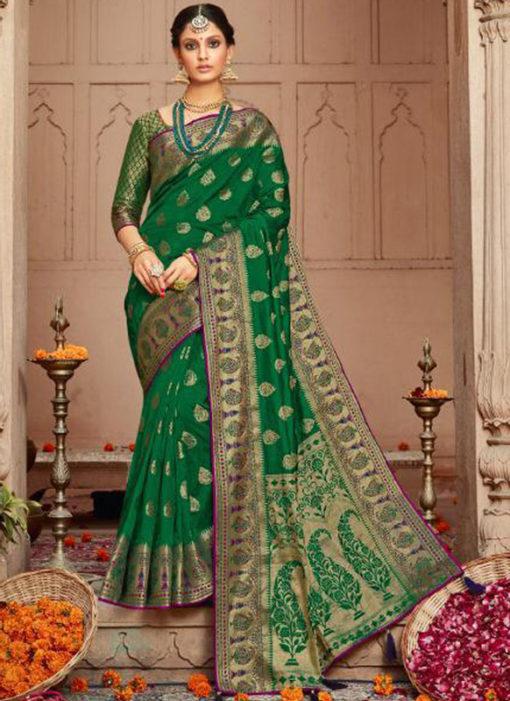 Graceful Green Silk Zari Weaving Wedding Designer Saree