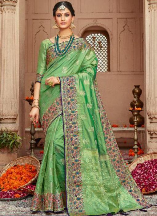 Amazing Pista Green Silk Zari Weaving Wedding Designer Saree