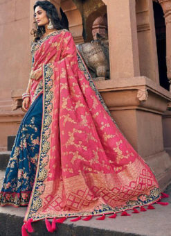 Beautiful Blue And Pink Silk Embroidered Work Half N Half Designer Saree