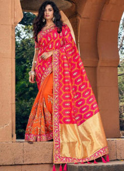 Lovely Orange Silk Embroidered Work Deisnger Saree