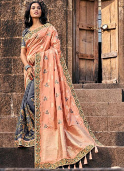 Classic Grey And Peach Silk Embroidered Work Half N Half Saree