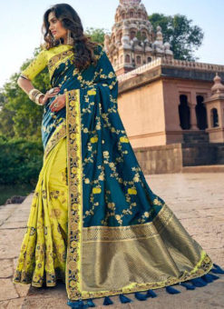 Florasan Geen And Sea Blue Silk Embroidered Work Half N Half Saree