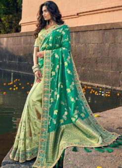 Amazing Pista Green Silk Embroidered Work Designer Saree
