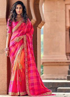 Wonderful Rani Pink Silk Embroidered Work Designer Saree
