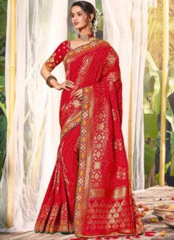 Red Silk Zari Weaving Wedding Designer Saree