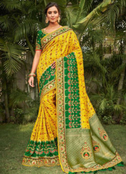 Yellow Silk Zari Weaving Wedding Designer Saree
