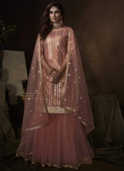 Beautiful Pink Net Thread Work Designer Pakistani Suit