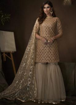 Lovely Beige Net Thread Work Designer Pakistani Suit