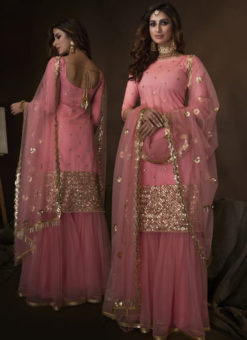 Amazing Pink Net Thread Work Designer Pakistani Suit