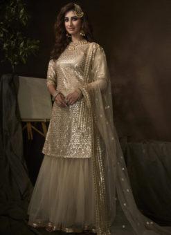Alluring Dusty Beige Net Thread Work Designer Pakistani Suit