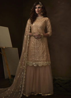 Lovely Beige Net Thread Work Designer Pakistani Suit