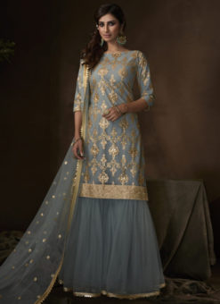 Awesome Grey Net Thread Work Designer Pakistani Suit