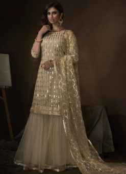 Amazing Beige Net Thread Work Designer Pakistani Suit