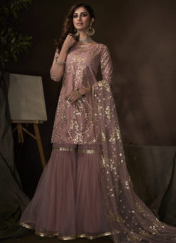 Stunning Purple Net Thread Work Designer Pakistani Suit