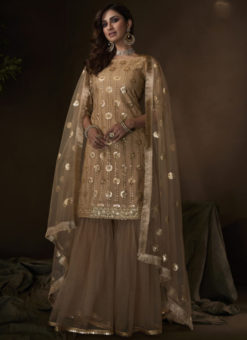Fantastic Beige Net Thread Work Designer Pakistani Suit