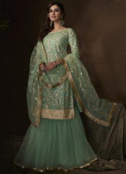 Excellent Green Net Thread Work Designer Pakistani Suit