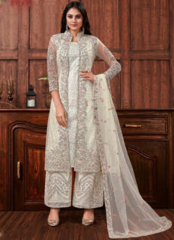 Lovely Off White Net Embroidered Work Designer Salwar Suit