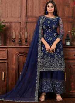 Amazing Blue Net Embroidered Work Designer Salwar Suit