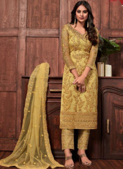 Beautiful Yellow Net Embroidered Work Designer Salwar Suit