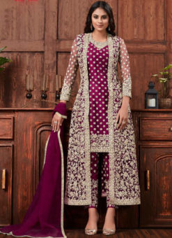 Alluring Purple Net Embroidered Work Designer Salwar Suit