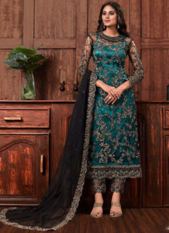 Excellent Rama Net Embroidered Work Designer Salwar Suit