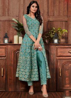 Elegant Sea Blue Net Embroidered Work Designer Salwar Suit
