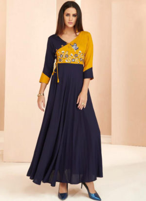 Navy Blue Rayon Cotton Designer Party Wear Kurti