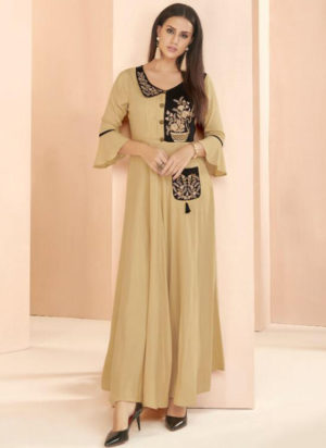 Cream Rayon Cotton Designer Party Wear Kurti