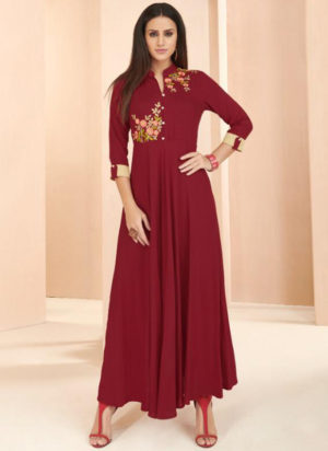 Maroon Rayon Cotton Designer Party Wear Kurti