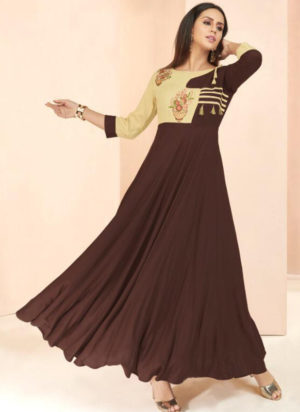 Brown Rayon Cotton Designer Party Wear Kurti