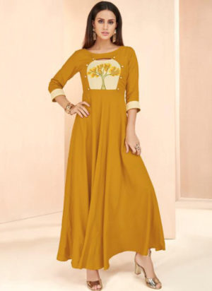 Mustred Yellow Rayon Cotton Designer Party Wear Kurti