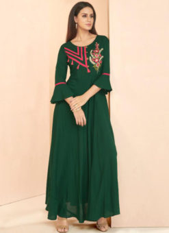 Green Rayon Cotton Designer Party Wear Kurti