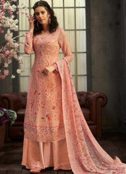 Lovely Pink Georgette Digital Printed Casual Wear Salwar Suit