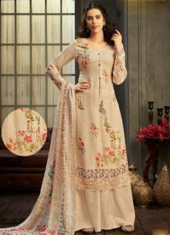 Wonderful Off White Georgette Digital Printed Casual Wear Salwar Suit