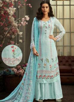 Elegant Sky Blue Georgette Digital Printed Casual Wear Salwar Suit