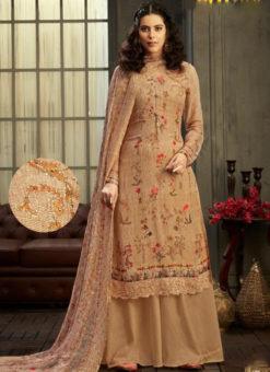 Jazzy Brown Georgette Digital Printed Casual Wear Salwar Suit