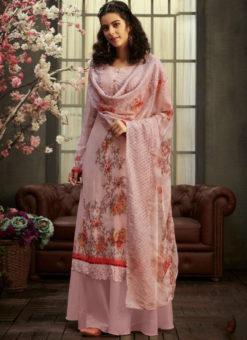Charming Pink Georgette Digital Printed Casual Wear Salwar Suit