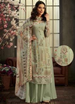 Grenish Georgette Digital Printed Casual Wear Salwar Suit