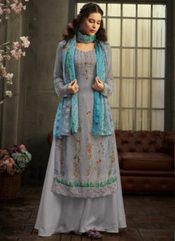 Amazing Lavender Georgette Digital Printed Casual Wear Salwar Suit
