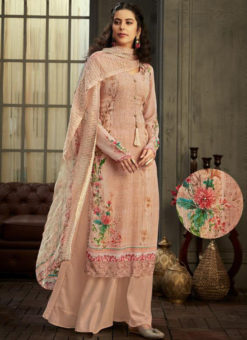 Beautiful Peach Georgette Digital Printed Casual Wear Salwar Suit