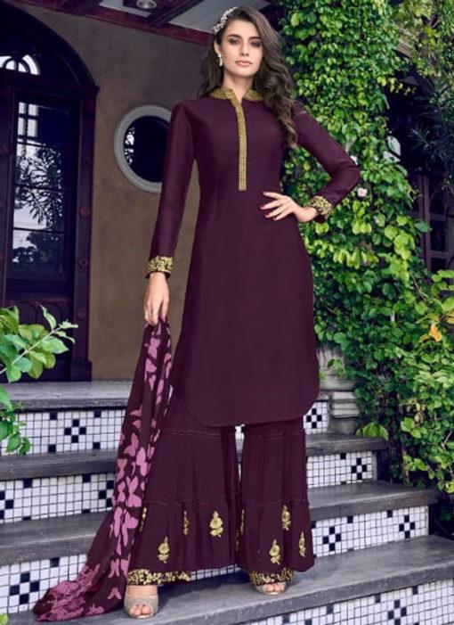 Purple Silk Embroidered Work Designer Salwar Kameez