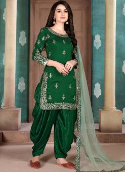 Green Art Silk Party Wear Patiala Salwar Suit
