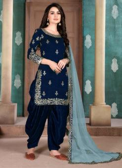 Blue Art Silk Party Wear Patiala Salwar Suit