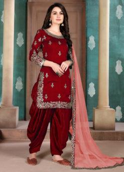 Maroon Art Silk Party Wear Patiala Salwar Suit