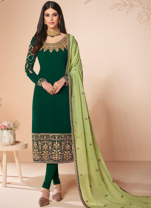 Green Georgette Embroidered Work Party Wear Churidar Suit