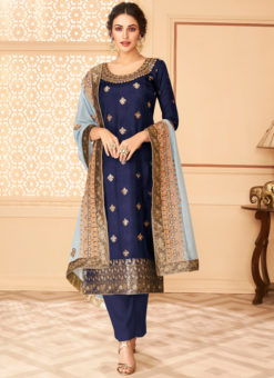 Amazing Blue Jacquard Silk Designer Salwar Suit