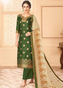 Graceful Green Jacquard Silk Designer Salwar Suit