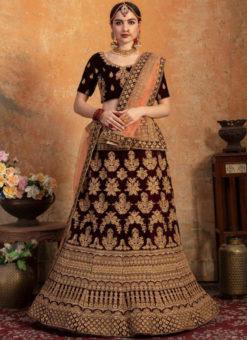 Designer Velvet Maroon Zari Work Wedding Lehenga Choli